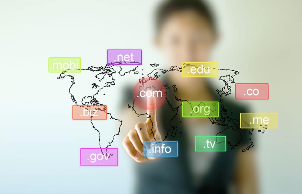 Business woman hand touching on Domain name icons