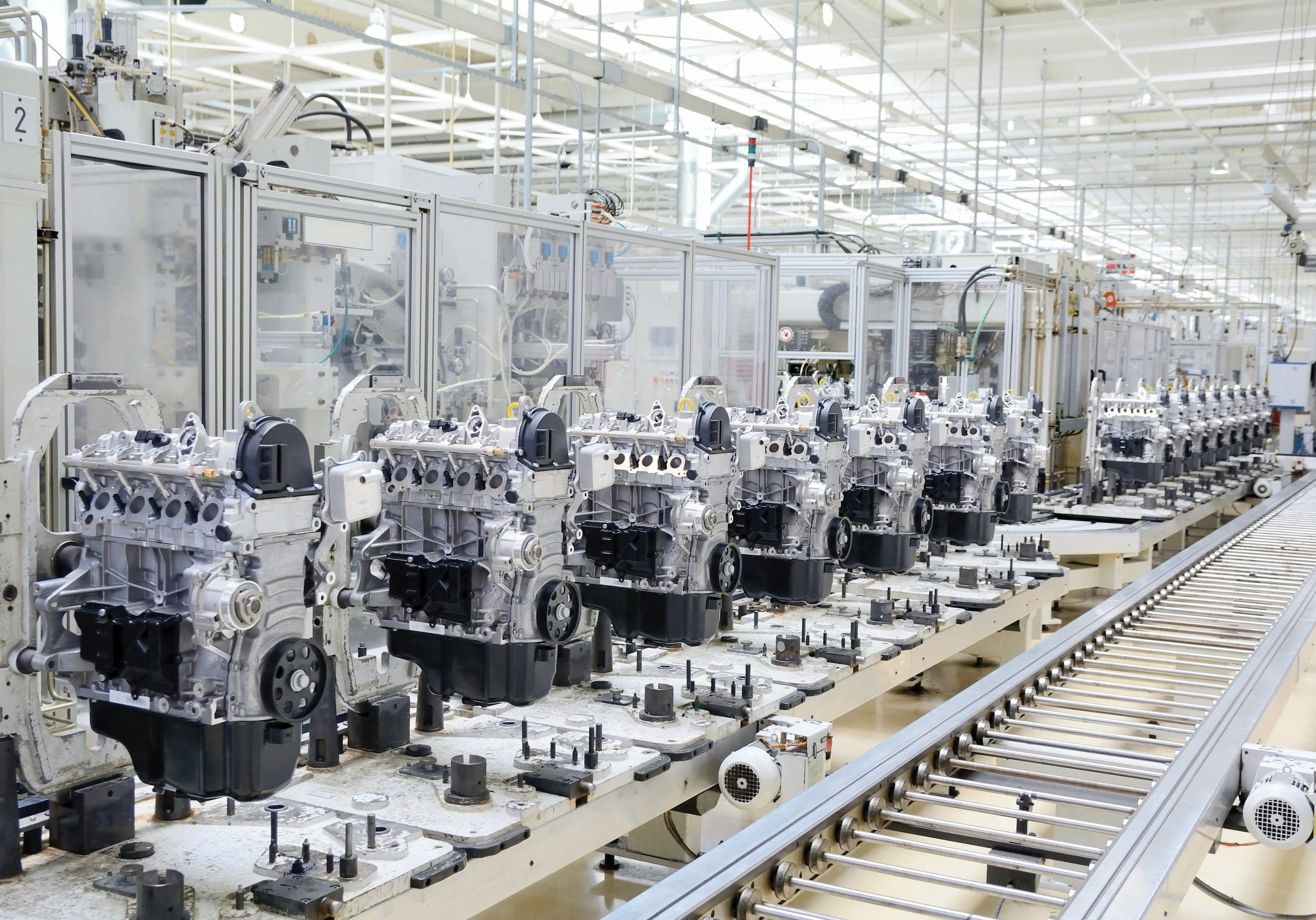 Production line for manufacturing of the engines in the car factory